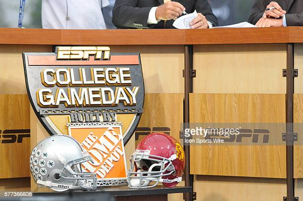 The Gameday logo and Ohio State and USC helmets during the ESPN College Football Gameday before the NCAA football game between the Ohio State...