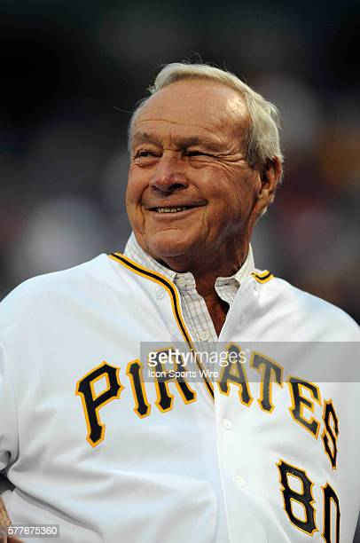 Arnold Palmer enjoys his 80th birthday as the Pittsburgh Pirates honor him with a pregame ceremony before the game between the Chicago Cubs and...