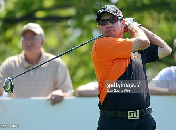 Brian Davis watches his ball after teeing off on hole 10 in round one of the BMW Championship at Cog Hill Golf and Country Club in Lemont IL