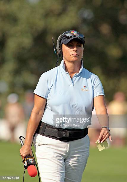 NBC golf analyst Dotti Pepper during the 3rd round of the BMW Golf Classic at Cog Hill Golf Club in Lemont Illinois Tiger Woods shot a course record...