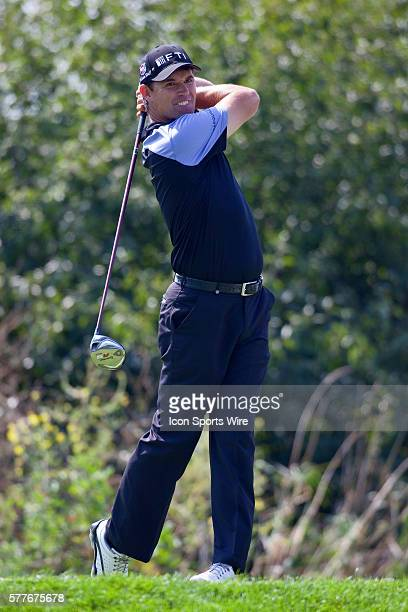 Padraig Harrington tees off of hole 17 in round one of the BMW Championship at Cog Hill Golf and Country Club in Lemont IL