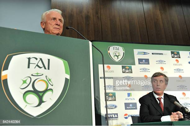 25 September 2009 Republic of Ireland manager Giovanni Trapattoni with FAI chief executive John Delaney right after announcing he had agreed a...