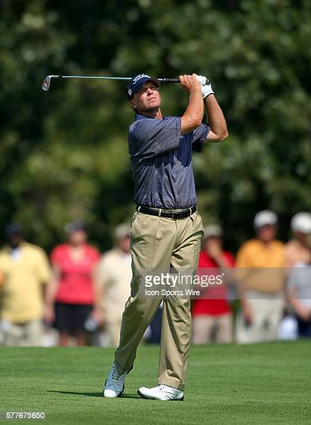 Steve Stricker hits a ball in round one of the BMW Championship at Cog Hill Golf and Country Club in Lemont IL