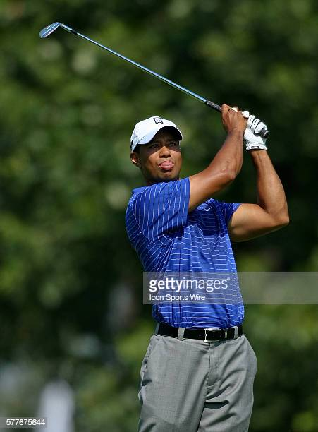 Tiger Woods hits a ball in round one of the BMW Championship at Cog Hill Golf and Country Club in Lemont IL