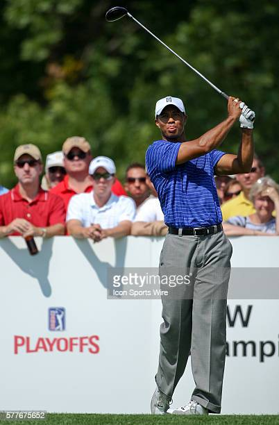 Tiger Woods tees off in round one of the BMW Championship at Cog Hill Golf and Country Club in Lemont IL