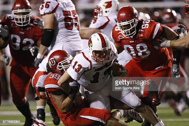 Utah linebacker Kepa Gaison sacks Cardinals quarterback Justin Burke The Utah Utes defeated the Louisville Cardinals 30 to 14 at Rice Eccles Stadium...
