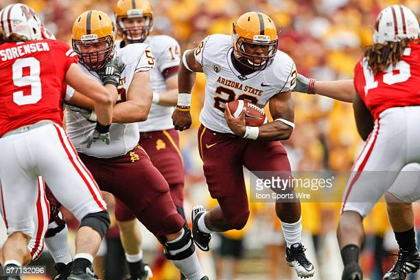 Arizona State Sun Devils running back Cameron Marshall runs with the ball in game action The Wisconsin Badgers defeated the Arizona State Sun Devils...