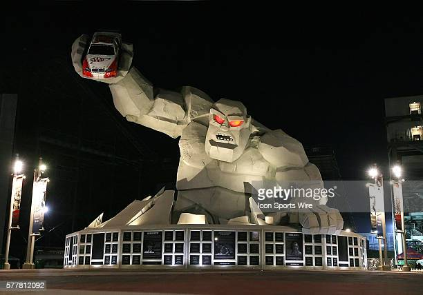 Miles the Monster figure in the victory plaze following the Dover 200 at the Dover International Speedway in Dover Delaware