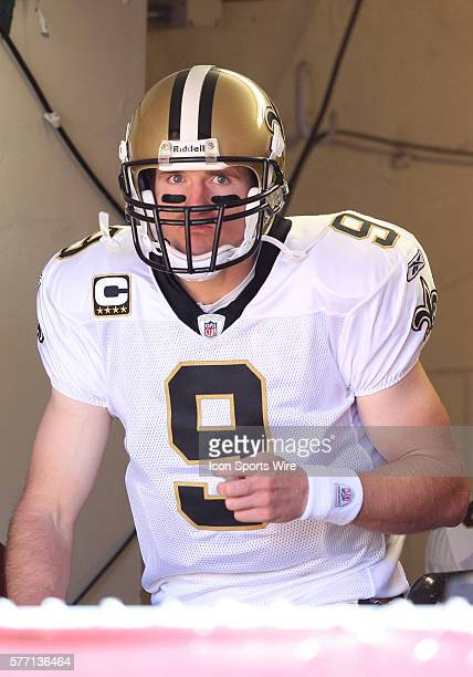 New Orleans Saints quarterback Drew Brees emerges from the locker room as the Saints beat the 49ers 2522 at Candlestick Park in San Francisco Ca