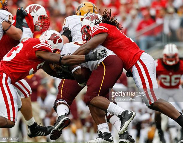 Wisconsin Badgers linebacker Culmer St Jean tackles Sun Devils running back Marshall Cameron in game action The Wisconsin Badgers defeated the...