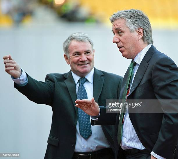 7 September 2014 John Delaney right Chief Executive of the FAI and former Republic of Ireland international Ray Houghton before the game UEFA EURO...