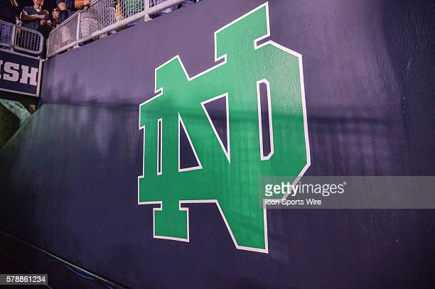 Notre Dame Fighting Irish logo on the side wall of the entry tunnel to the field in action during a game between the Michigan Wolverines and the...