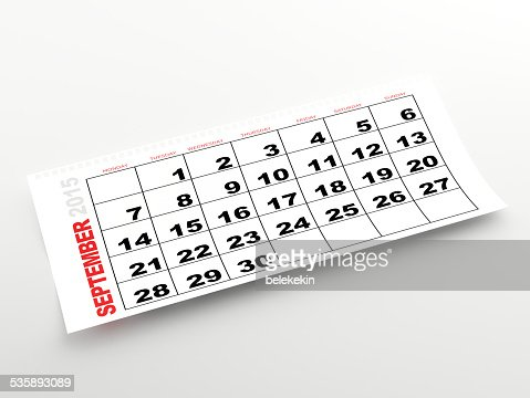 September 2015 calendar : Stock Photo
