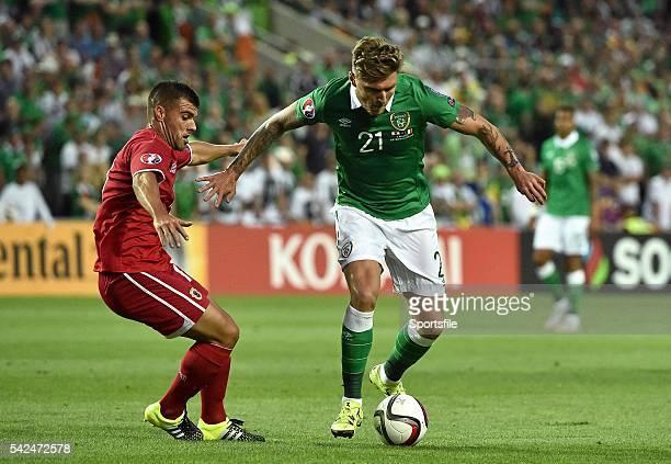 4 September 2015 Jeff Hendrick Republic of Ireland in action against Liam Walker Gibraltar UEFA EURO 2016 Championship Qualifier Group D Gibraltar v...
