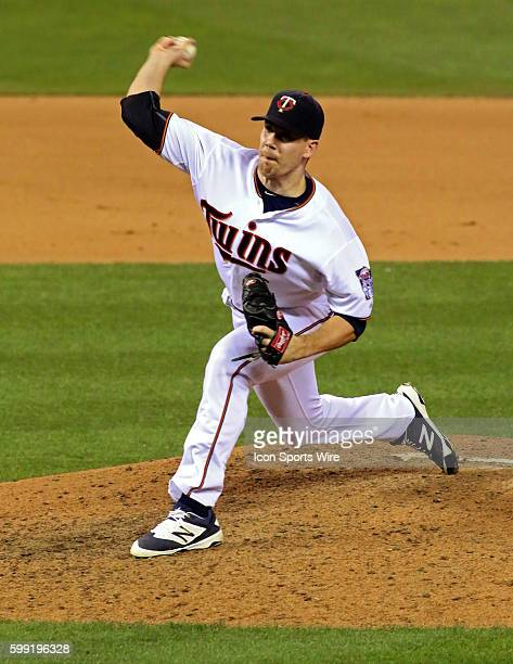 Minnesota Twins Pitcher Casey Fien throws in relief in the seventh inning in the game between the Detroit Tigers and the Minnesota Twins at Target...