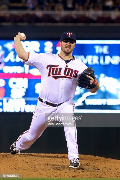 Minnesota Twins starter Phil Hughes throws in the fourth inning of the game between the Detroit Tigers and the Minnesota Twins at Target Field...
