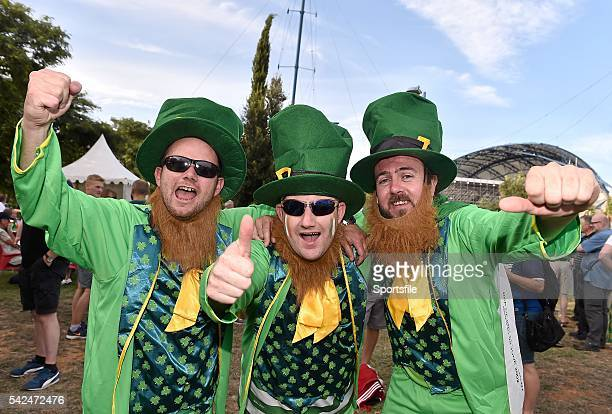 4 September 2015 Republic of Ireland supporters from left Ian Murphy Kieran Murphy and Shane McMahon all from Tralee Co Kerry before the game UEFA...