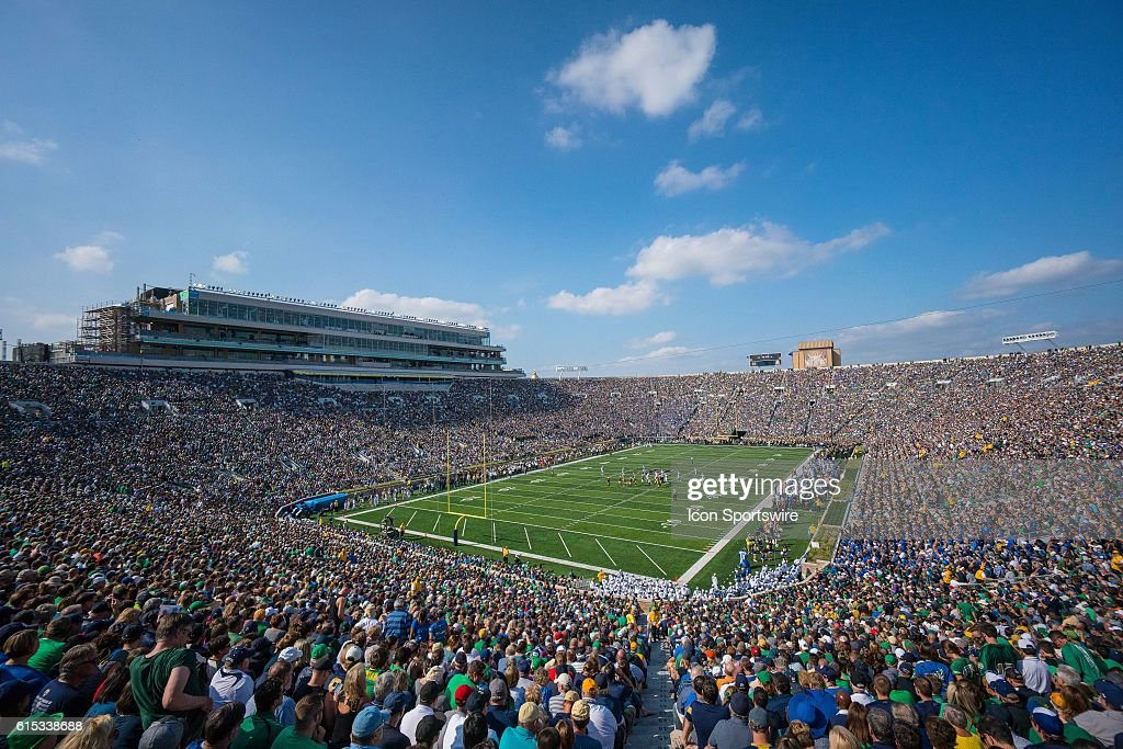 A general overhead view of Notre Dame Stadium in action during a game between the Notre Dame Fighting Irish and the Duke Blue Devils at Notre Dame Stadium in South Bend, IN.