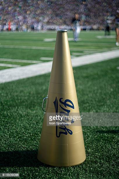 A Notre Dame Fighting Irish cheerleaders megaphone rests on the field in action during a game between the Notre Dame Fighting Irish and the Duke Blue...