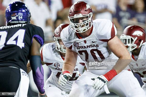Arkansas Razorbacks offensive lineman Dan Skipper during the college football game between the TCU Horned Frogs and the Arkansas Razorbacks at Amon G...