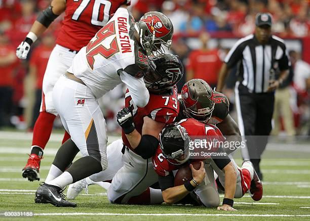 Atlanta Falcons quarterback Matt Ryan is sacked by Tampa Bay Buccaneers defensive end Robert Ayers in first half action of the Tampa Bay Buccaneers...