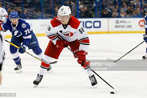 Carolina Hurricanes left wing Janne Kuokkanen in action during the Preseason NHL game between the Carolina Hurricanes and Tampa Bay Lightning at...