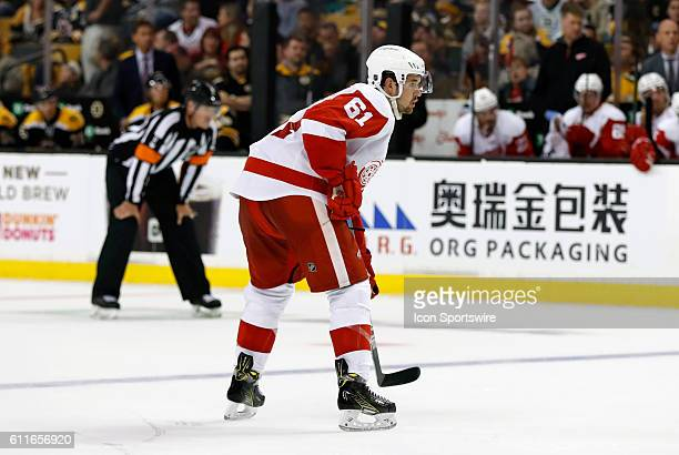 Detroit Red Wings defenseman Xavier Ouellet is set for a face off The Detroit Red Wings defeated the Boston Bruins 51 in a preseason NHL game at TD...
