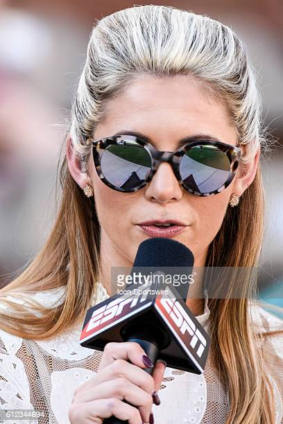 ESPN sideline reporter Laura Rutledge during the Mississippi State Bulldogs 2714 win over the South Carolina Gamecocks at Davis Wade Stadium in...