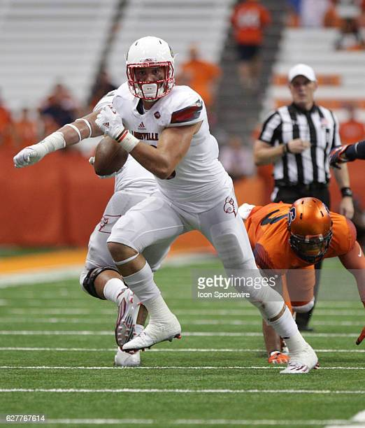 Louisville Cardinals tight end Cole Hikutini in action during a NCAA football game between the Louisville Cardinals and the Syracuse Orange at...