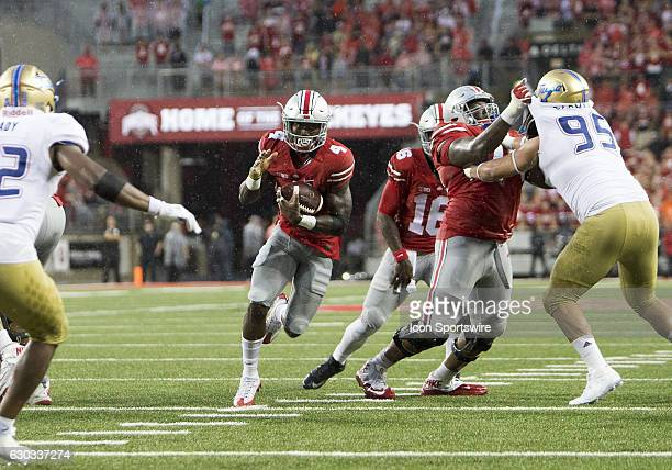 Ohio State Buckeyes running back Curtis Samuel attempts to make a run for the goal line during the game between the Tulsa Golden Hurricanes and the...