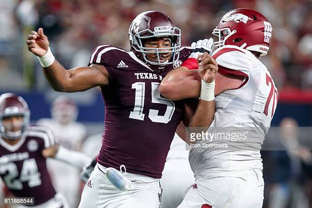 Texas AM Aggies defensive end Myles Garrett battles with Arkansas Razorbacks left tackle Dan Skipper during the Southwest Classic college football...