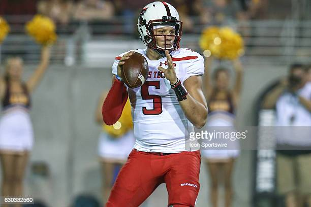 Texas Tech Red Raiders quarterback Patrick Mahomes II looks downfield during the NCAA football game between the Arizona State Sun Devils and the...