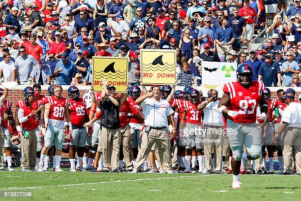 The Ole Miss sideline holding up shark signs on 3rd down during the Ole Miss Rebels 4514 win over the Georgia Bulldogs at VaughtHemingway Stadium in...
