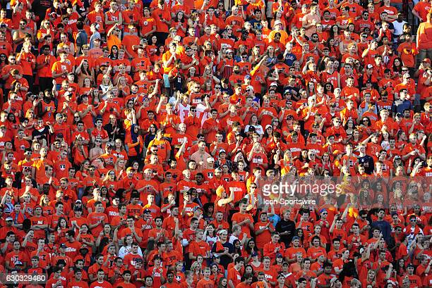 The sold out crowd during the game between the North Carolina Tar Heels and the Illinois Fighting Illini at Memorial Stadium in Champaign Illinois