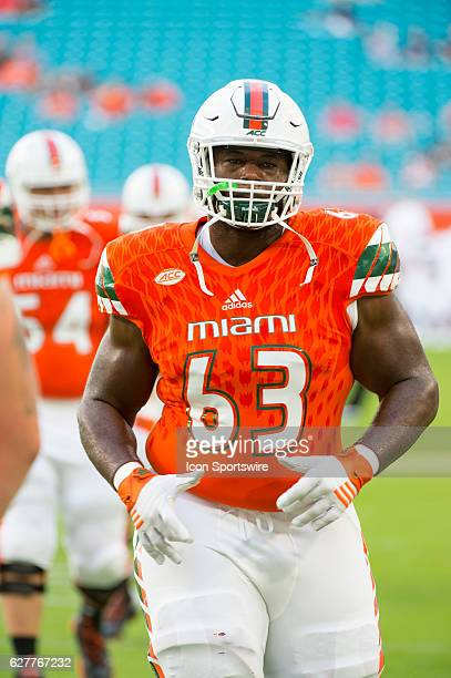 University of Miami Hurricanes Offensive Lineman Danny Isidora before the start of the NCAA football game between the Florida Atlantic Owls and the...