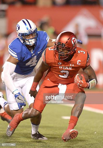 Utah Utes quarterback Troy Williams tries to avoid a sack from Brigham Young Cougars linebacker Fred Warner defends during a game between BYU and...