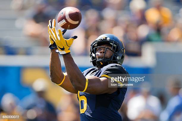 West Virginia Mountaineers WR Daikiel Shorts Jr warms up prior to the NCAA Football game between the Youngstown State Penguins and the West Virginia...