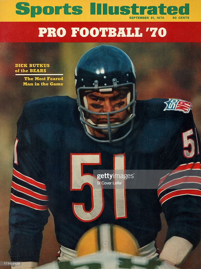 September 21, 1970 Sports Illustrated Cover.Football: Closeup of Chicago Bears <a gi-track='captionPersonalityLinkClicked' href=/galleries/search?phrase=Dick+Butkus&family=editorial&specificpeople=809708 ng-click='$event.stopPropagation()'>Dick Butkus</a> (51) during game vs Green Bay Packers at Soldier Soldier Field. NFL Season Preview.Chicago, IL CREDIT: Neil Leifer