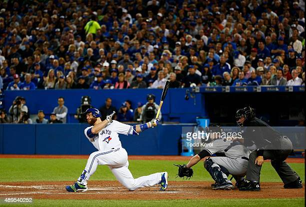 TORONTO ON September 21 2015 Toronto Blue Jays catcher Russell Martin strikes out during their American League baseball game against the New York...