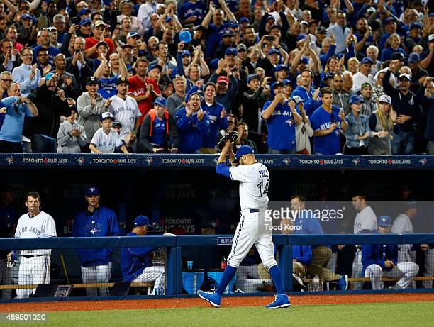 TORONTO ON September 21 2015 Toronto Blue Jays starting pitcher David Price waves to the crowd after pitching in the seventh inning during their...