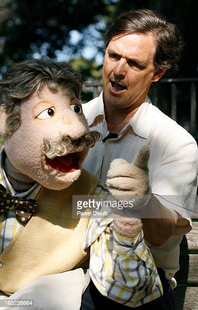September 23 2008 Green Party Candidate Stephen LaFrenie speaks about the Green Party platform through his puppet Harold at TrinityBellwoods park in...