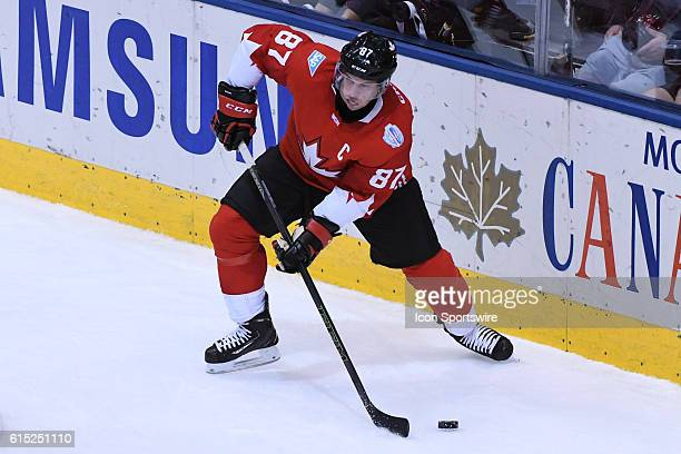 Team Canada Forward Sidney Crosby controls the puck during the WHOC semi final game between Team Russia and Team Canada at Air Canada Centre in...