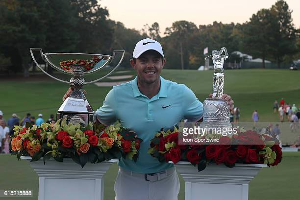 Rory McIlroy with the Fedex Cup Trophy and the Tour Championship trophy after winning on the 4th playoff hole at the final round of the 2016 PGA Tour...