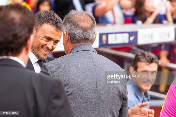 Luis Enrique and Paco Herrera during the match beetwen FC Barcelona and Las Palmas for the week 6 of the Spanish league played at the Camp Nou...