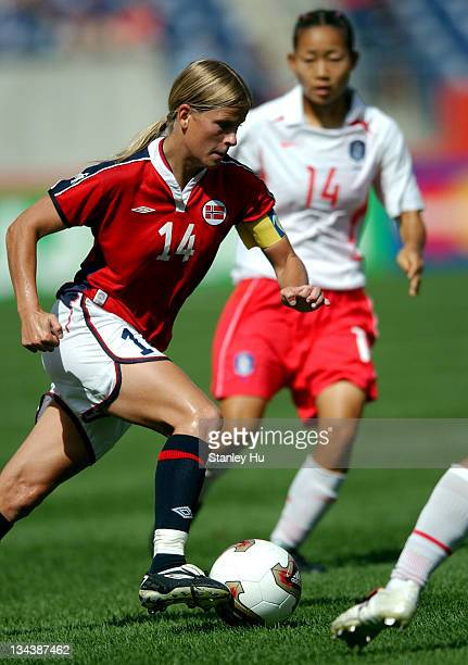 Dagny Mellgren of Norway in action during the FIFA Women's World Cup Group C competition at Gillette Stadium in Foxboro MA Mellgren scored two goals...