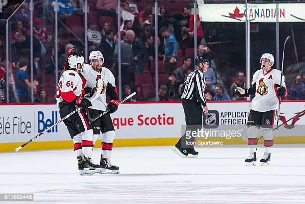 Ottawa teammates celerating the winning goal by Senators Thomas Chabot during the Ottawa Senators versus the Montreal Canadiens preseason game at...