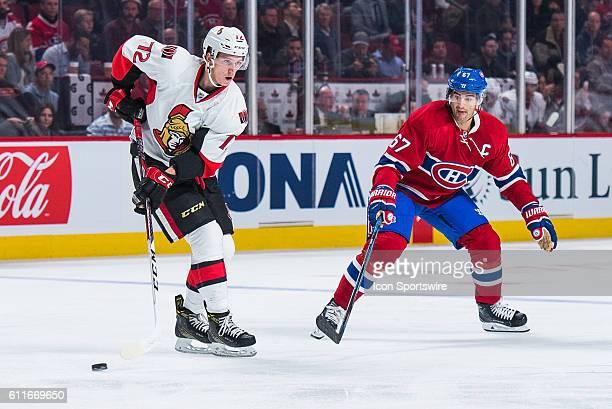 Senators Thomas Chabot making a back pass while Canadiens Max Pacioretty is looking during the Ottawa Senators versus the Montreal Canadiens...