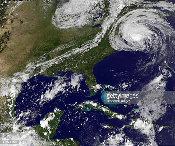 September 3, 2010 - Hurricane Earl along the New England coast.  Earl has loosened and its spiraling cloud bands have spread.