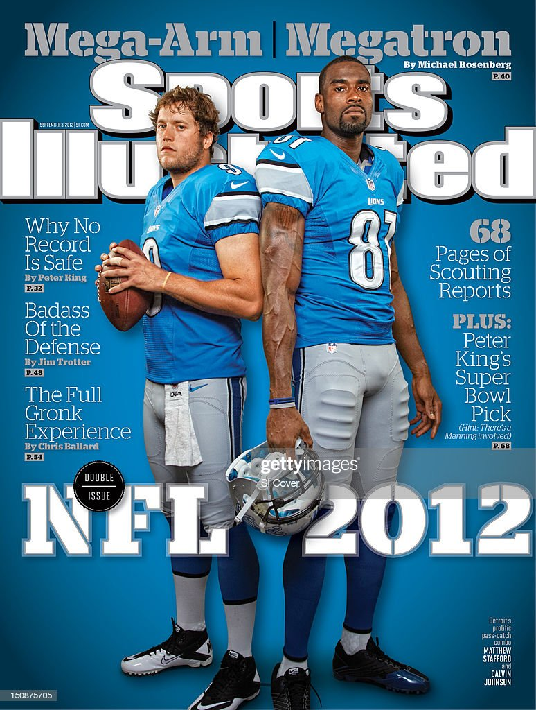 September 3, 2012 Sports Illustrated Cover: Portrait of Detroit Lions QB Matthew Stafford (9) and wide receiver Calvin Johnson (81) during photo shoot at Lions Headquarters & Training Facility. Walter Iooss Jr. F134 )