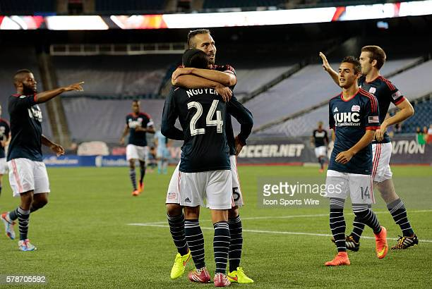 New England Revolution's AJ Soares hugs New England Revolution's Lee Nguyen after their third goal late in stoppage time The New England Revolution...